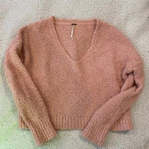 Free people pink v neck sweater